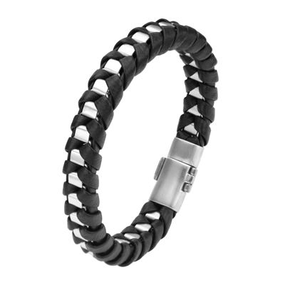 Inox® Jewelry Mens Stainless Steel & Black Leather Chain Bracelet