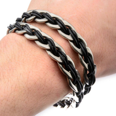 Inox® Jewelry Mens Stainless Steel & Black Leather Anchor Charm Bracelet