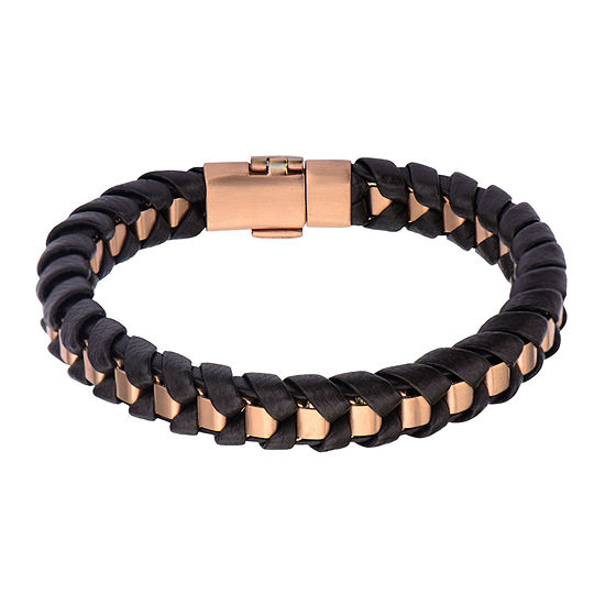 Inox® Jewelry Mens Rose-Tone Stainless Steel & Black Leather Bracelet