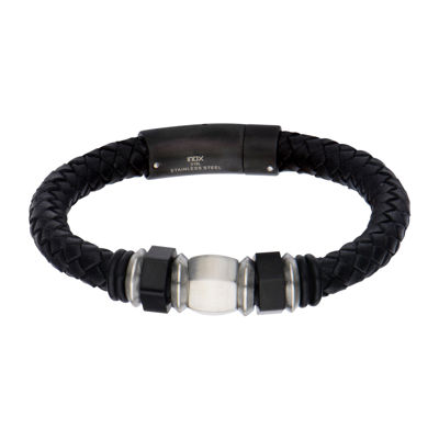 Inox® Jewelry Mens Stainless Steel & Black IP Leather Bracelet