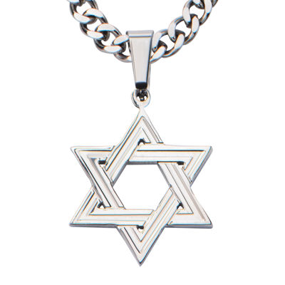 Inox® Jewelry Mens Stainless Steel Star Of David Pendant