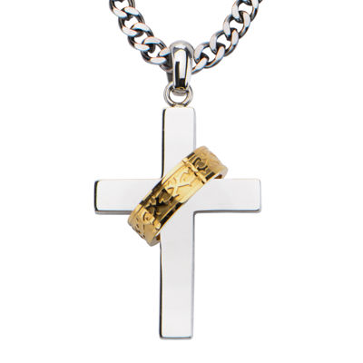 Inox® Jewelry Mens Stainless Steel & Gold IP Cross Pendant