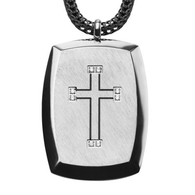 Inox® Jewelry Mens Cubic Zirconia Stainless Steel Cross Dog Tag Pendant