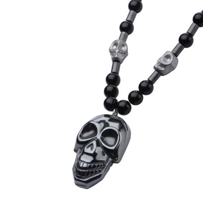 Inox® Jewelry Mens Hematite Skull With Black Agate Stainless Steel Bead Pendant