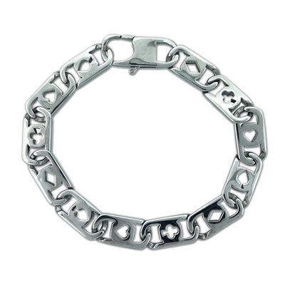 mens stainless steel deck of cards chain bracelet jcpenney