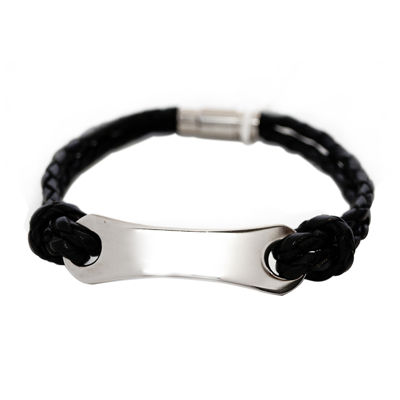 Mens Stainless Steel & Leather ID Bracelet