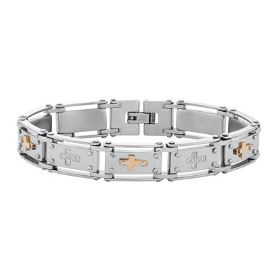 Mens Cubic Zirconia Stainless Steel Cross Chain Bracelet