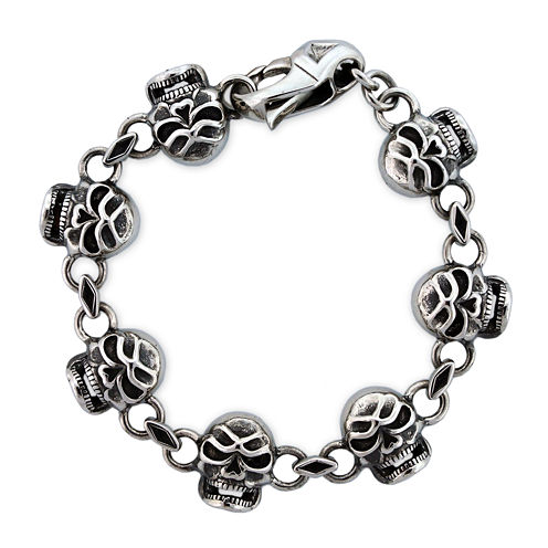 Mens Stainless Steel Skull Chain Bracelet