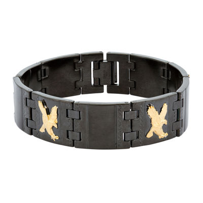 Mens Black Stainless Steel Eagle Link Bracelet