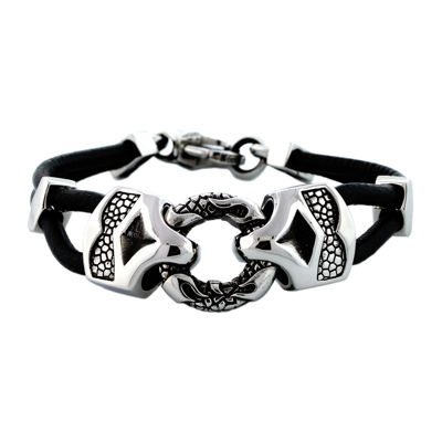 Mens Stainless Steel & Leather Bracelet