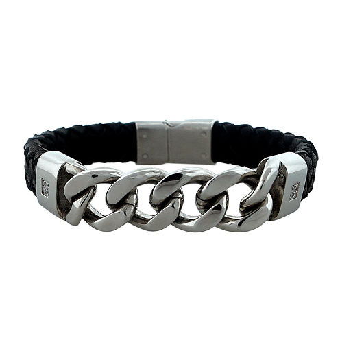 Mens Cubic Zirconia Stainless Steel & Leather Bracelet