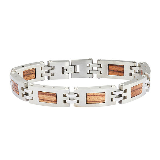 Mens Stainless Steel Chain & Wood Bracelet