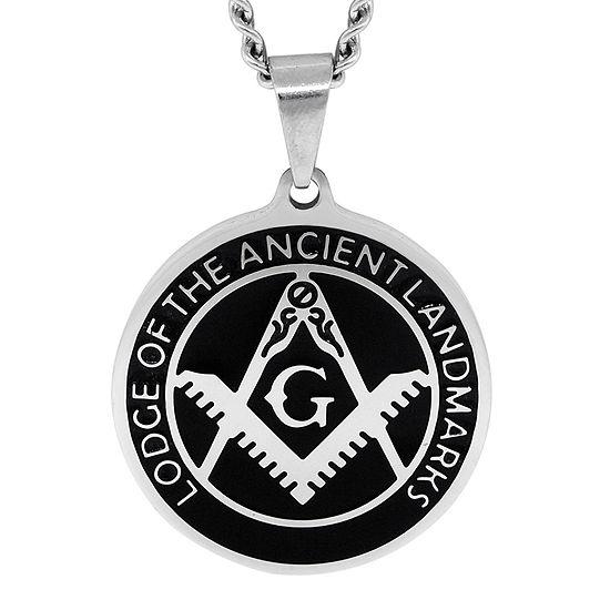 Mens Stainless Steel & Enamel Masonic Emblem Pendant Necklace