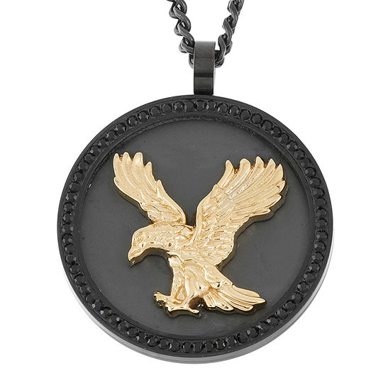 Mens Genuine Round Black Crystal Stainless Steel & Gold IP Eagle Pendant Necklace