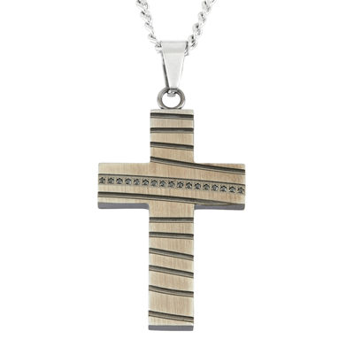 Mens Stainless Steel & Black IP Cross Pendant