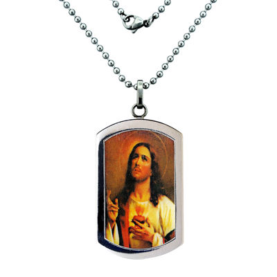 Mens Stainless Steel Sacred Heart of Jesus Pendant