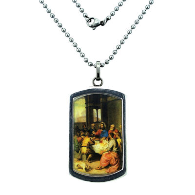 Mens Stainless Steel Last Supper Pendant Necklace