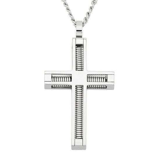 Mens Stainless Steel Cross Pendant