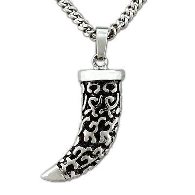 Mens Stainless Steel Horn Pendant