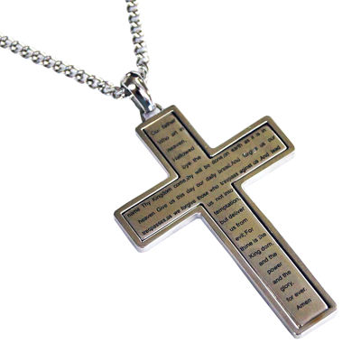 Mens Cubic Zirconia Stainless Steel Lords Prayer Cross Pendant