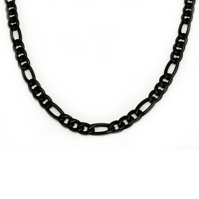 Mens Black Stainless Steel Chain Necklace