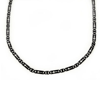 Mens Black Stainless Steel Cross Chain Necklace