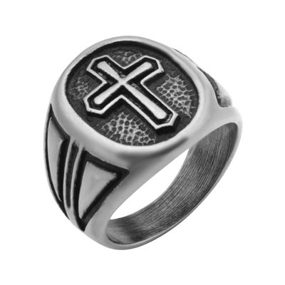 Inox® Jewelry Mens Stainless Steel Antique-Look Cross Ring
