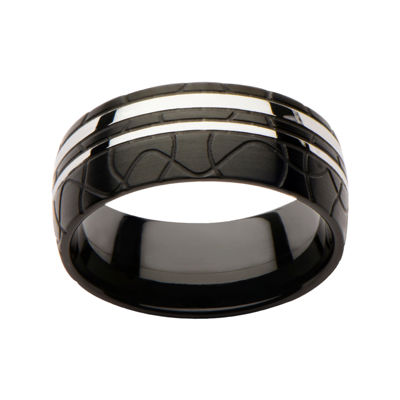 Inox® Jewelry Mens Stainless Steel & Black IP Ring