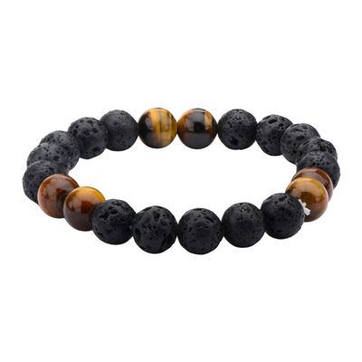 Inox® Jewelry Mens Black Lava & Brown Tiger Eye Stainless Steel Bead Bracelet