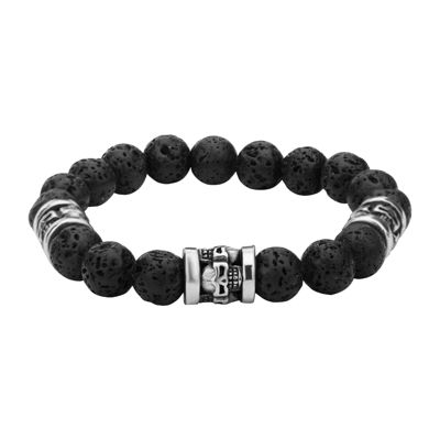 Inox® Jewelry Mens Black Lava Stone & Stainless Steel Bead Bracelet