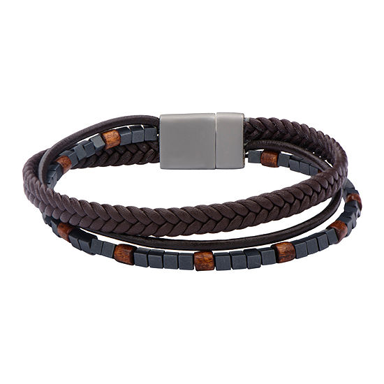 Inox Jewelry Mens Hematite Bead Brown Leather Stainless Steel Bracelet
