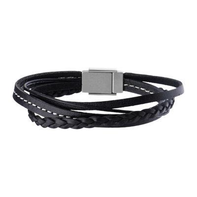 Inox® Jewelry Mens Stainless Steel & Leather Bracelet