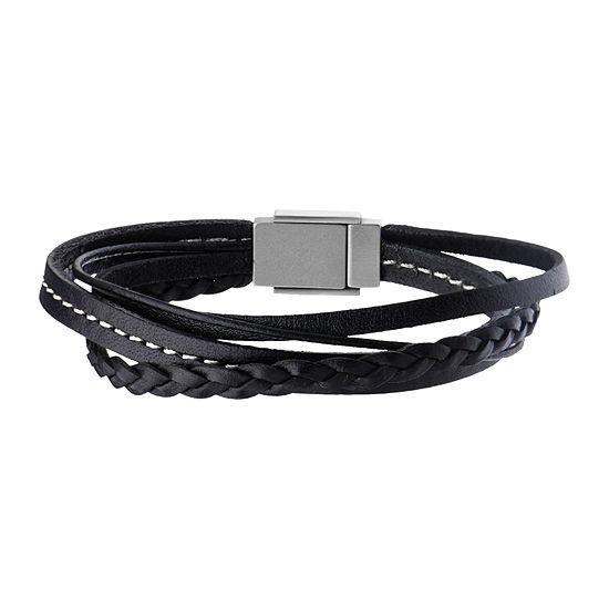 Inox Jewelry Mens Stainless Steel Leather Bracelet