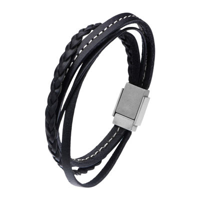 Inox® Jewelry Mens Stainless Steel & Leather Bracelet