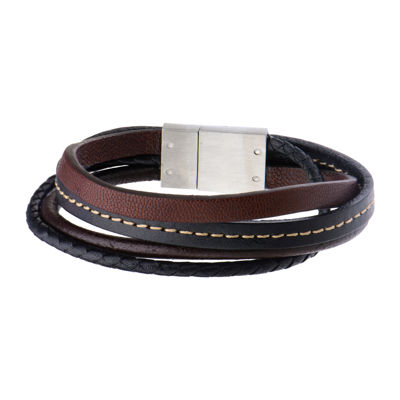 Inox® Jewelry Mens Stainless Steel & Leather Layered Bracelet
