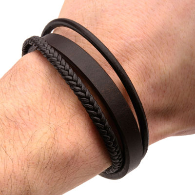 Inox® Jewelry Mens Stainless Steel & Brown Leather Layered Bracelet