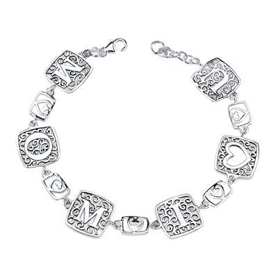 """Inspired Moments™ """"Mom I Heart U"""" Sterling Silver Link Bracelet"""