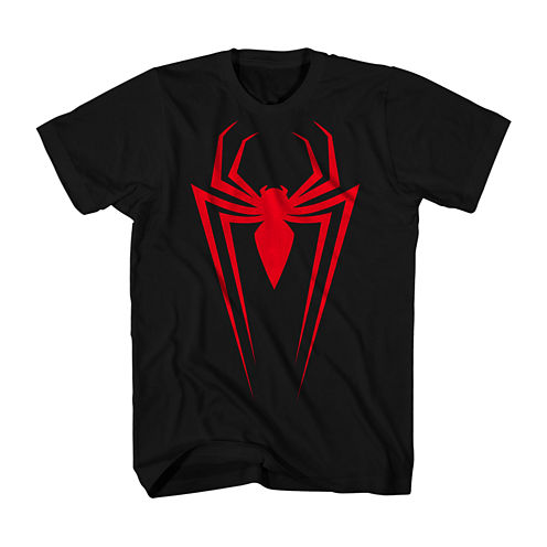 Marvel Mens Short-Sleeve Spider-Man Miles Graphic Tee (Black)
