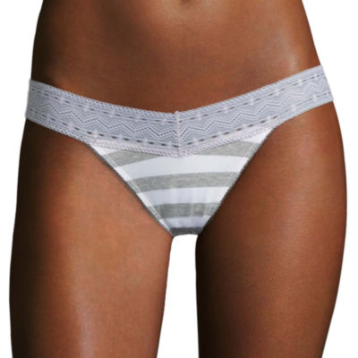 Flirtitude® V-Waist Cotton Lace Thong