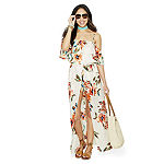 Love Reigns 3/4 Sleeve Floral Maxi Dress-Juniors
