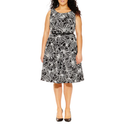 Alyx Sleeveless Scroll Fit & Flare Dress-Plus