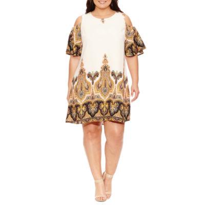 Luxology 3/4 Sleeve Paisley Sheath Dress-Plus