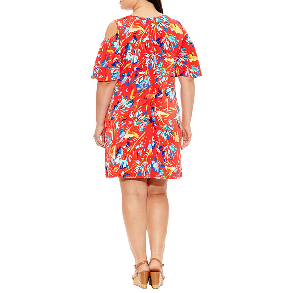 Luxology 3/4 Sleeve Floral Sheath Dress-Plus