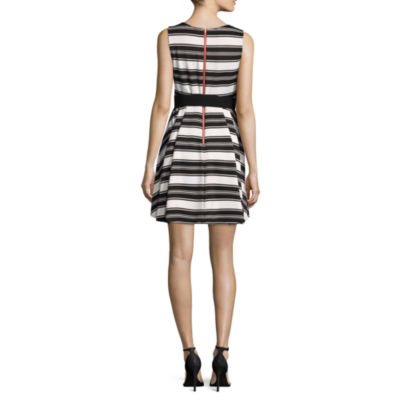 Danny & Nicole Sleeveless Stripe Fit & Flare Dress-Petites