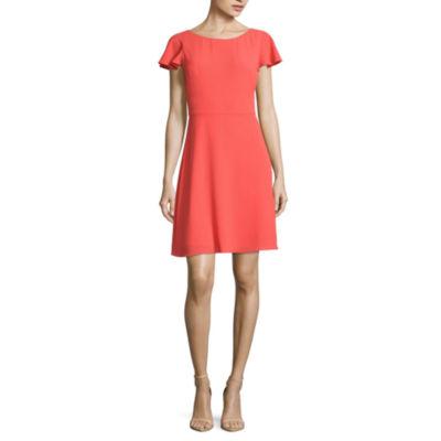 London Style Short Sleeve Fit & Flare Dress-Petites