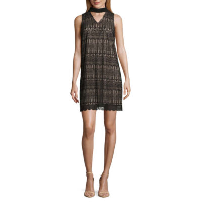 London Style Sleeveless Pattern Shift Dress-Petite
