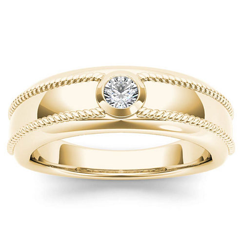 Mens 1/5 CT. T.W. Genuine White Diamond 14K Gold Wedding Band