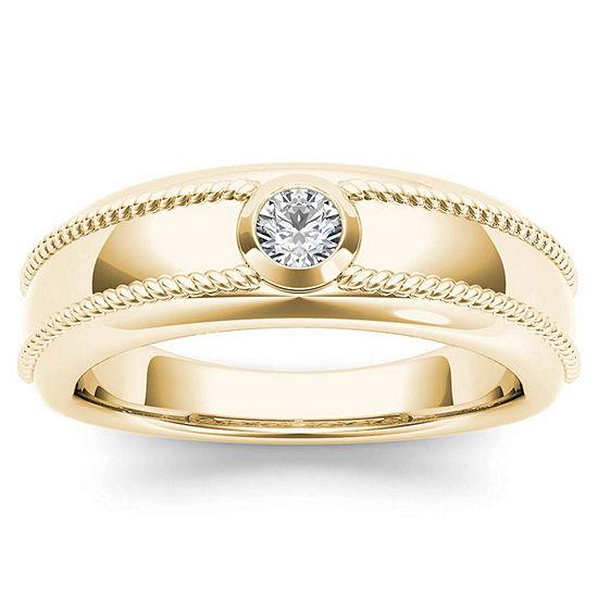 Mens 3.5MM 1/5 CT. T.W. Genuine White Diamond 14K Gold Wedding Band