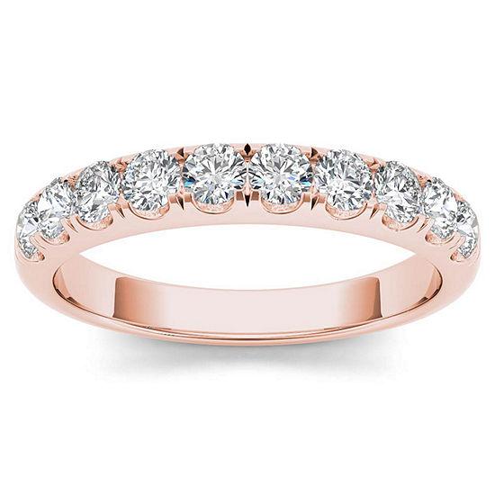 Womens 2.5MM 3/4 CT. T.W. Genuine White Diamond 14K Gold Wedding Band