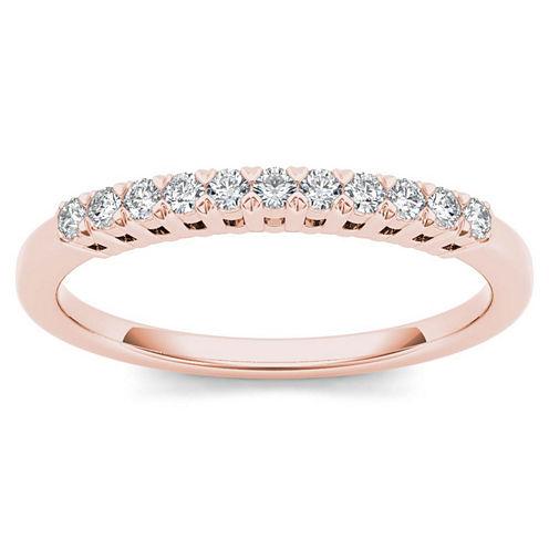 Womens 1/5 CT. T.W. Genuine White Diamond 10K Gold Wedding Band